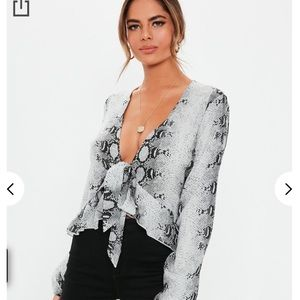 Missguided Grey Snake Print Front Tie Blouse